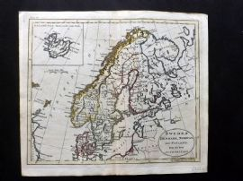 Guthrie 1788 Antique Hand Col Map. Sweden Denmark, Norway and Finland
